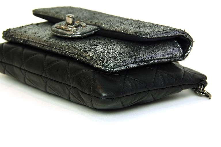 c18f6ceed10831 Chanel 2013 Black/Silver Metallic Mineral Nights Pochette Bag w Chain For  Sale 1