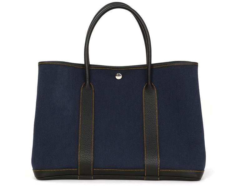 birkin bag look alike - Hermes 2012 Navy Blue Canvas/leather Medium Garden Party Tote Bag ...