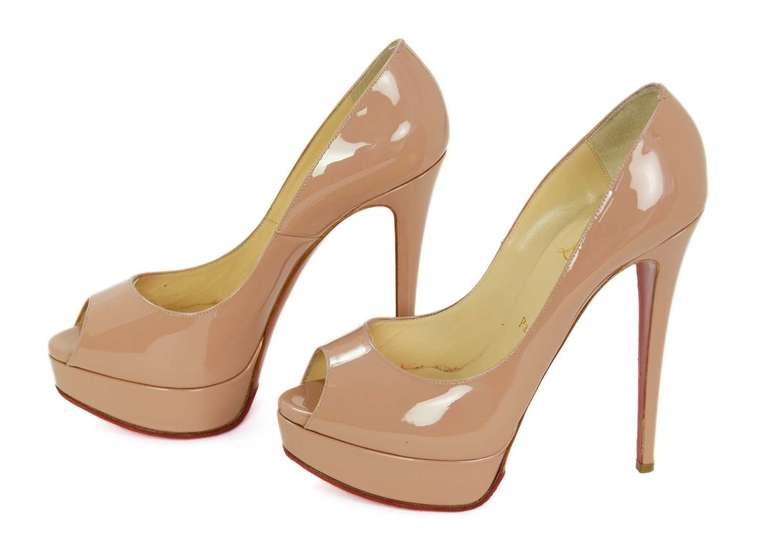 CHRCHRISTIAN LOUBOUTIN Nude Patent Leather Lady Peep Toe Pump Shoes Sz 8.5 3