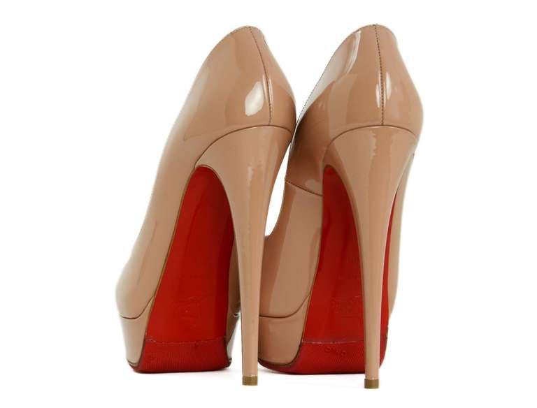 CHRCHRISTIAN LOUBOUTIN Nude Patent Leather Lady Peep Toe Pump Shoes Sz 8.5 4
