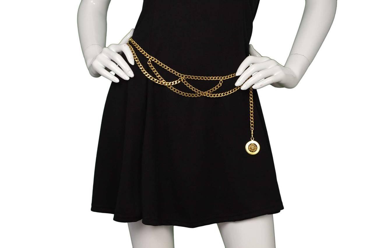 CHANEL Vintage '50s-'60s Gold Three Tier Chain Link Belt 1