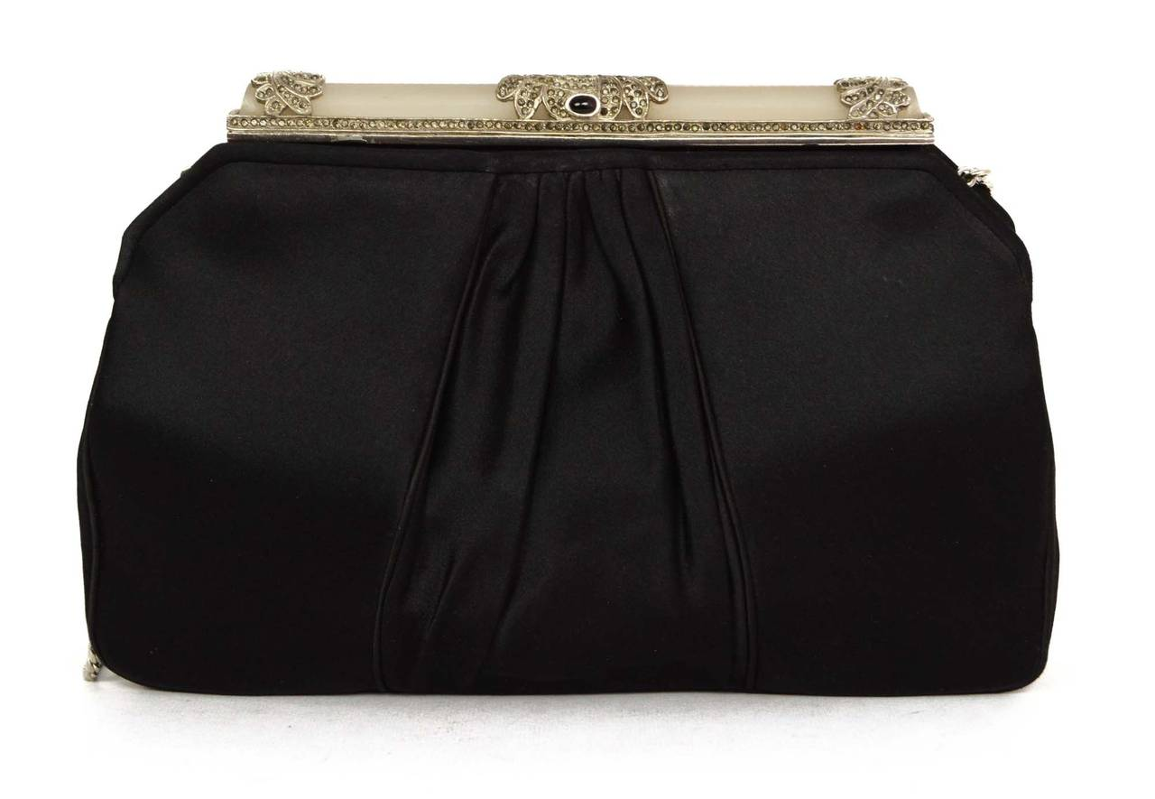 JUDITH LEIBER Black Satin Art Deco Evening Bag SHW In Excellent Condition For Sale In New York, NY