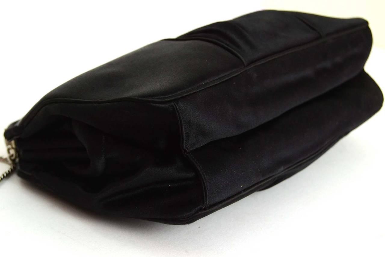 JUDITH LEIBER Black Satin Art Deco Evening Bag SHW 4
