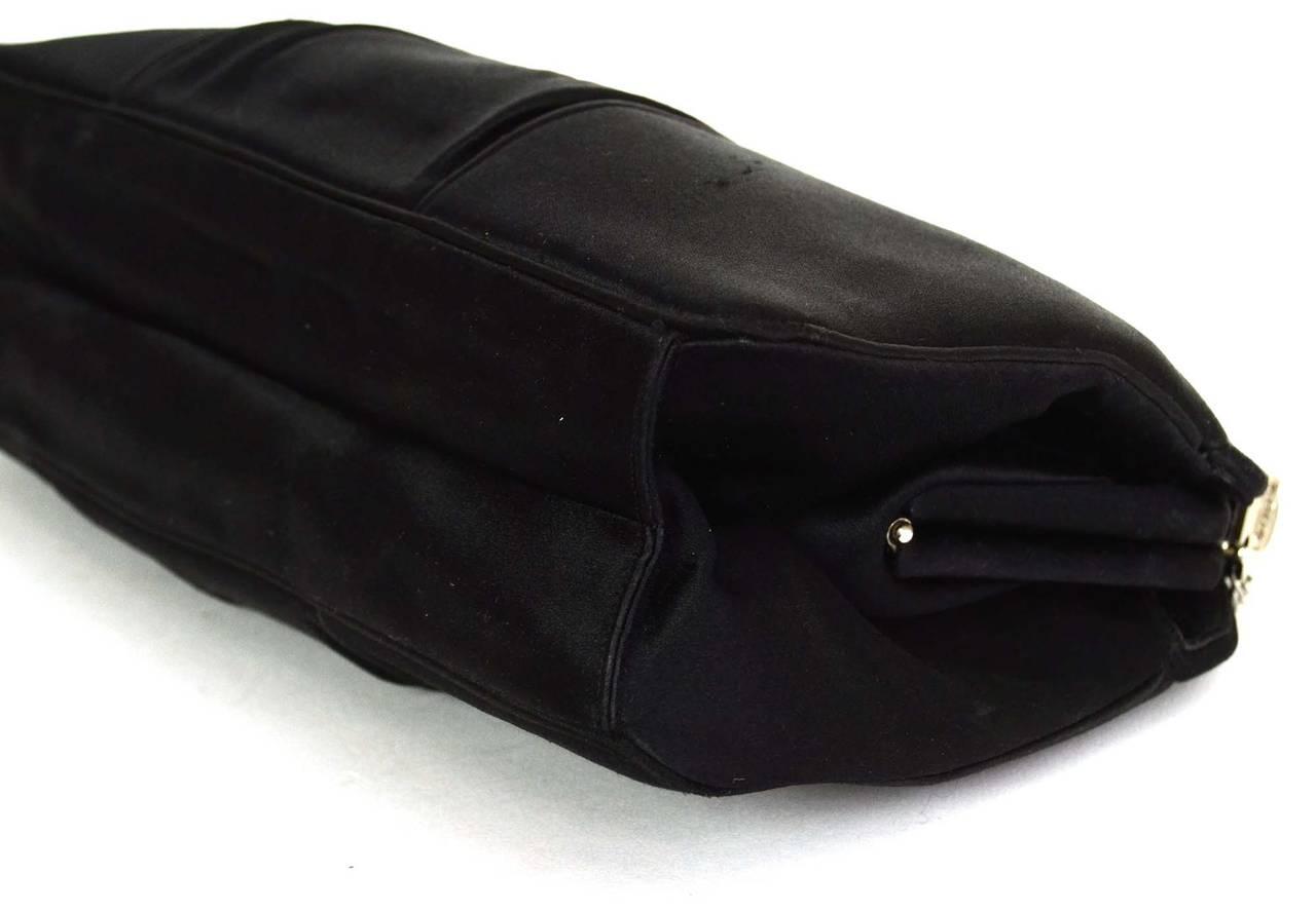 JUDITH LEIBER Black Satin Art Deco Evening Bag SHW 5
