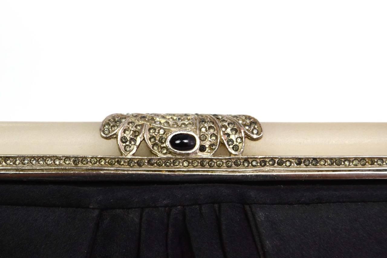 JUDITH LEIBER Black Satin Art Deco Evening Bag SHW 6