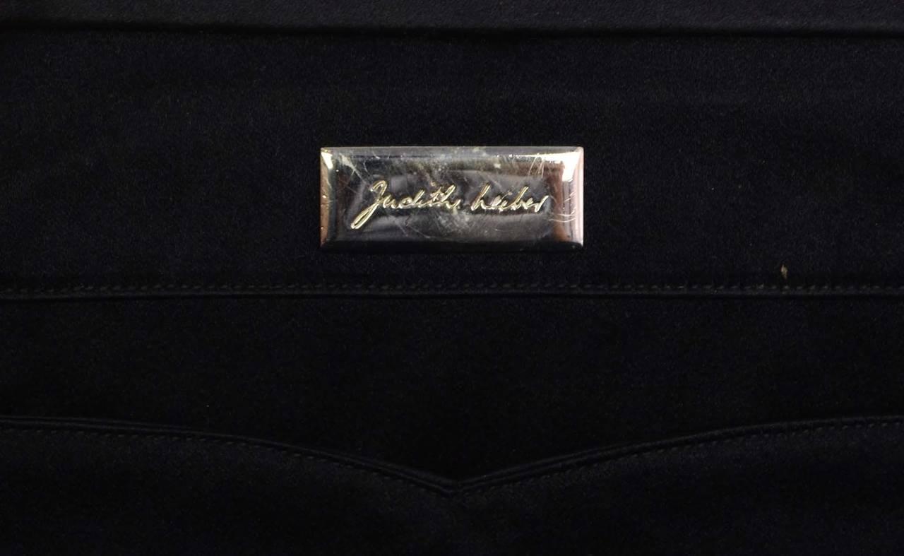 JUDITH LEIBER Black Satin Art Deco Evening Bag SHW 8