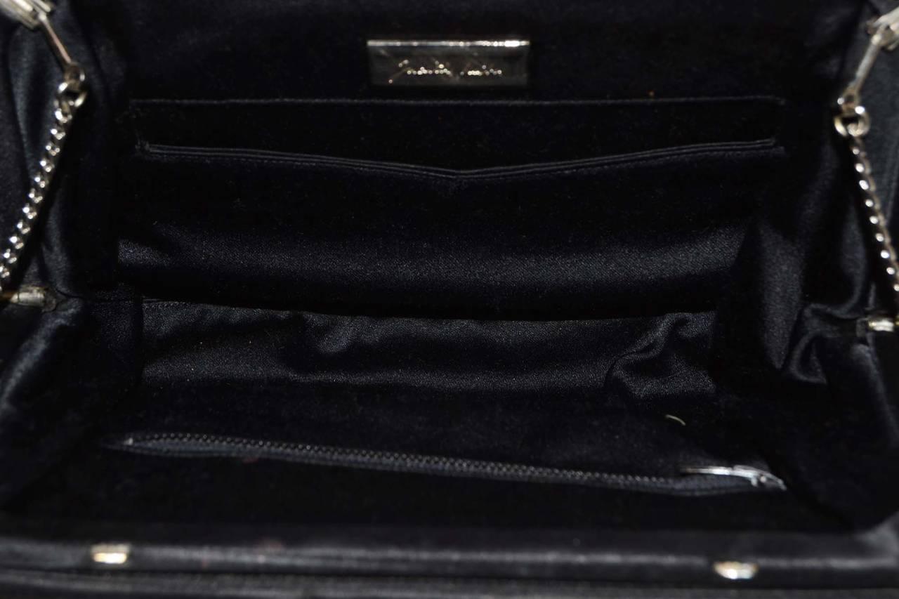 JUDITH LEIBER Black Satin Art Deco Evening Bag SHW 7