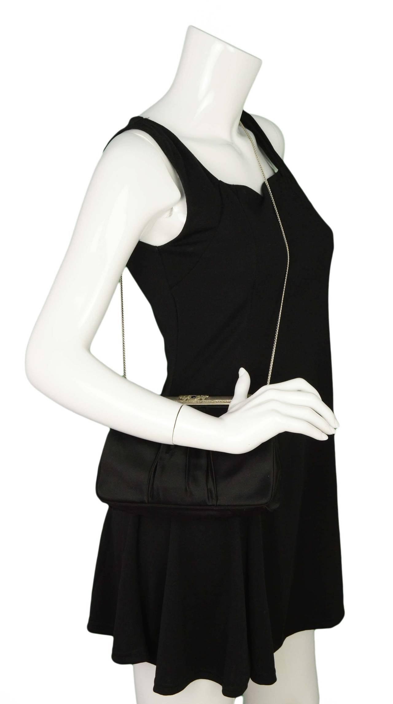 JUDITH LEIBER Black Satin Art Deco Evening Bag SHW 9