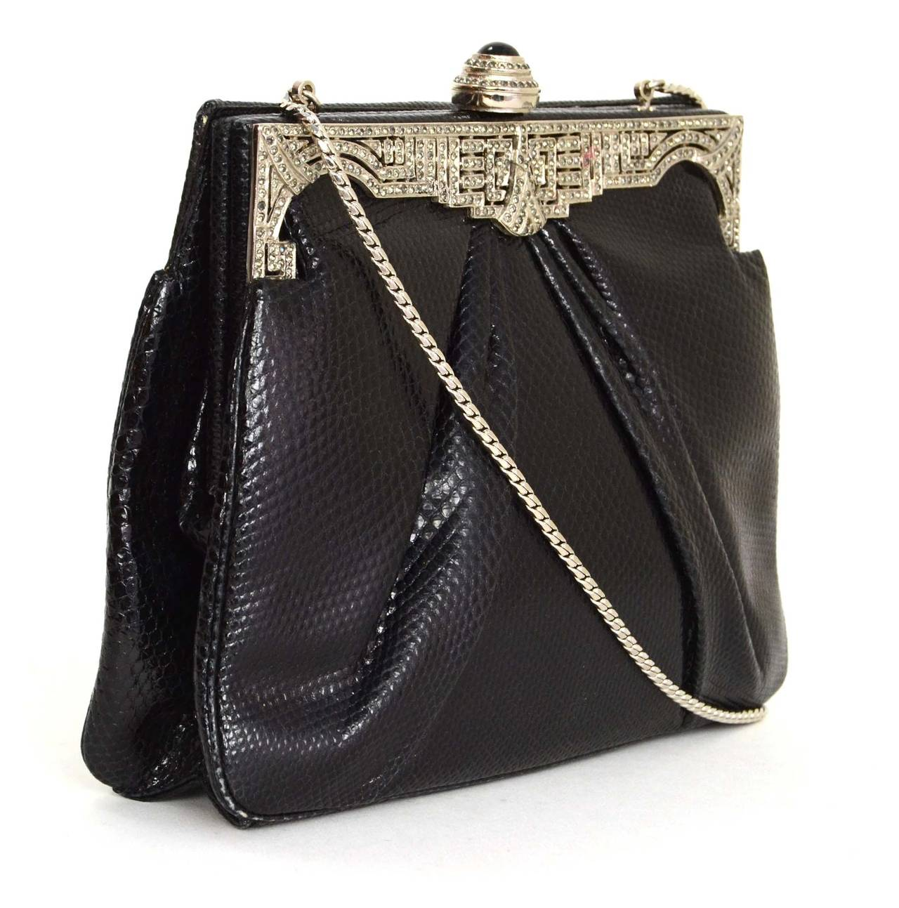 Judith Leiber Black Lizard Skin & Rhinestone Evening Bag