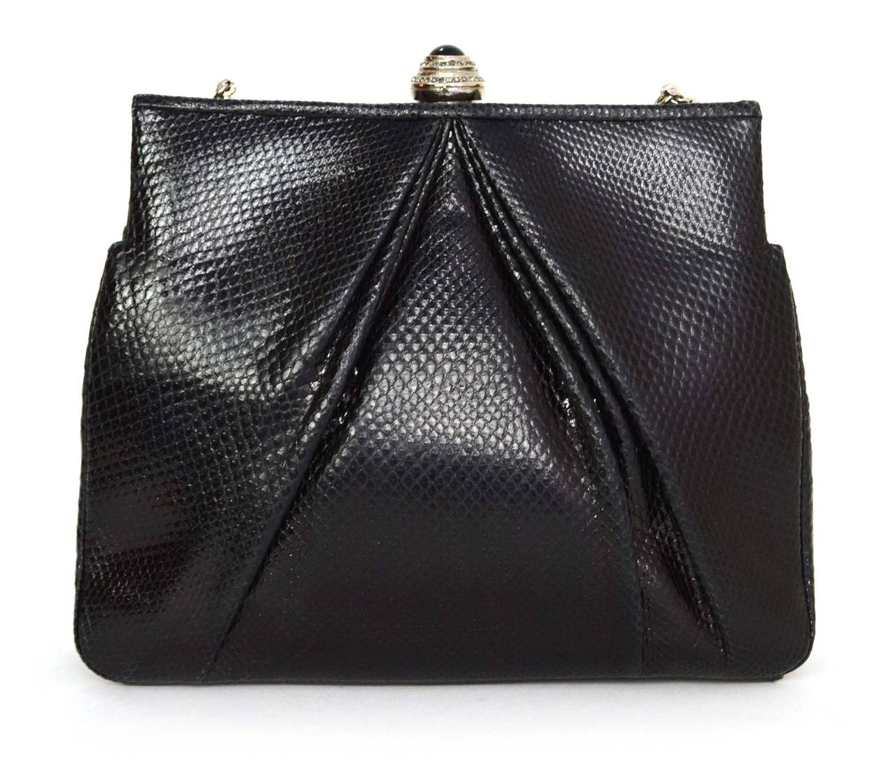 JUDITH LEIBER Black Lizard Skin & Rhinestone Evening Bag SHW In Excellent Condition For Sale In New York, NY