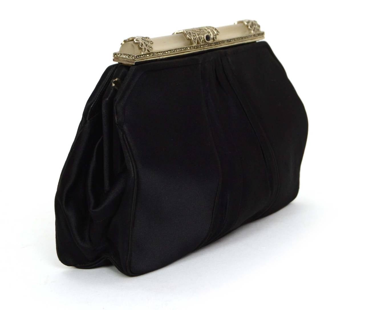 Judith Leiber Black Satin Art Deco Evening Bag