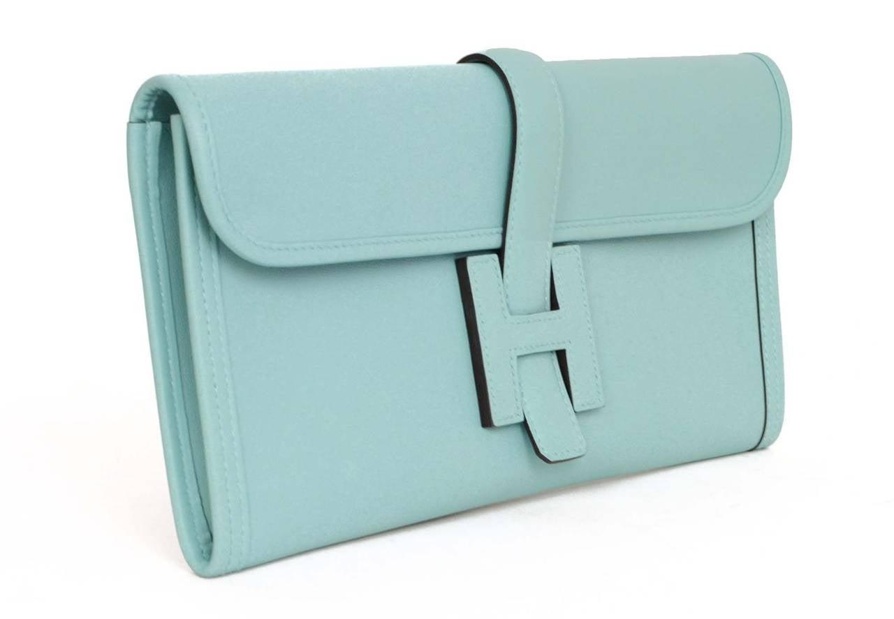 best made handbags - HERMES \u0026#39;15 Blue Atoll Swift Leather 29cm Jige Elan Clutch Bag at ...