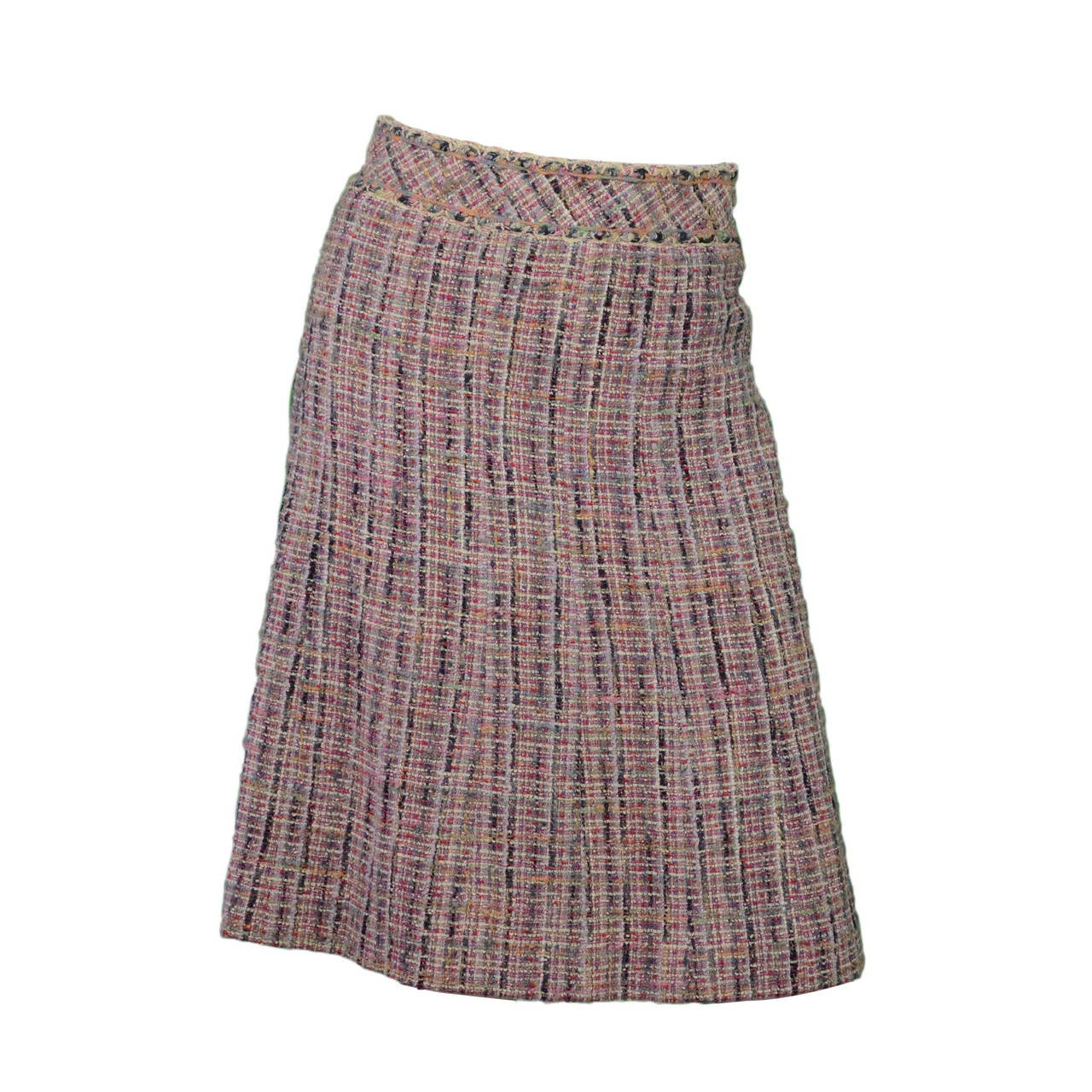 CHANEL Multi-Colored Tweed A-Line Skirt sz 34 1