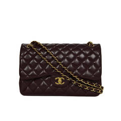 CHANEL Burgundy Quilted Caviar Jumbo Classic Double Flap Bag GHW
