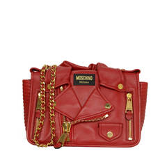 MOSCHINO Red Leather Motorcycle Jacket Bag GHW