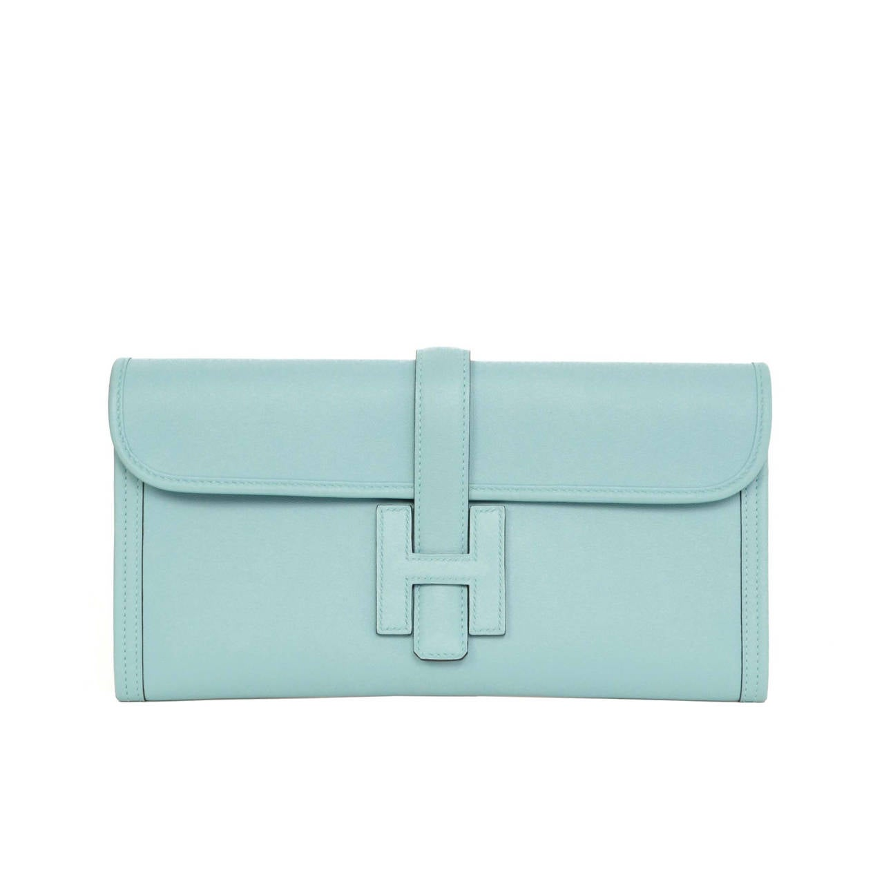 HERMES \u0026#39;15 Blue Atoll Swift Leather 29cm Jige Elan Clutch Bag at ...