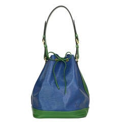 LOUIS VUITTON Vintage '95 Blue & Green Epi Noe GM Bag GHW