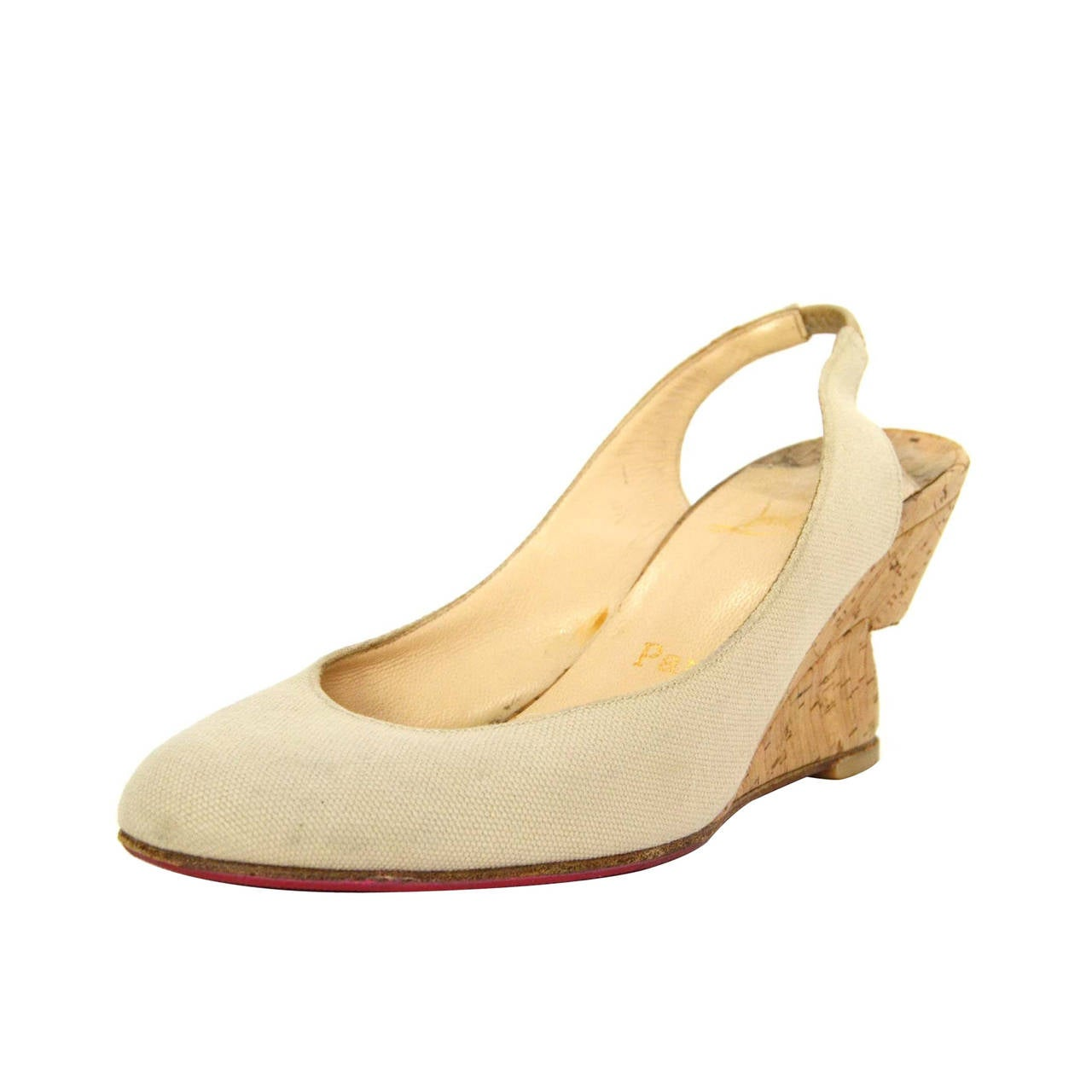 white louboutins shoes - christian louboutin round-toe wedges Creme canvas | The Little ...
