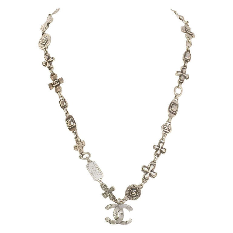 Chanel 1999 Silvertone Logo Cross and CC Charm Chain Necklace 1