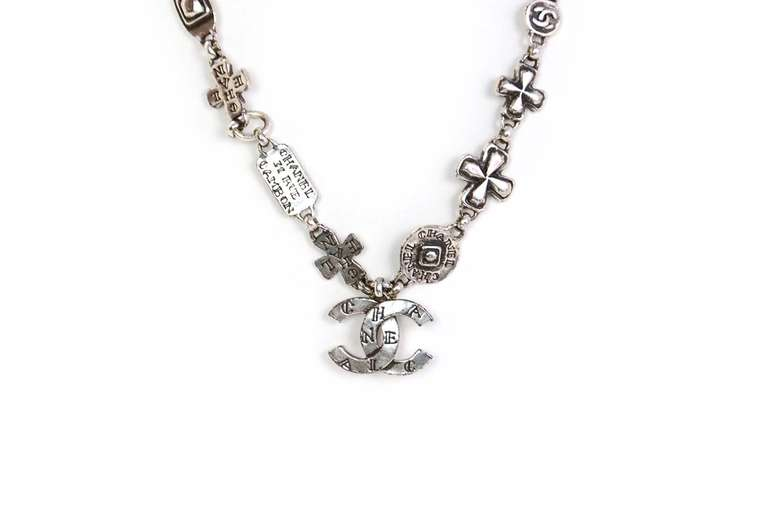 Chanel 1999 Silvertone Logo Cross and CC Charm Chain Necklace 2