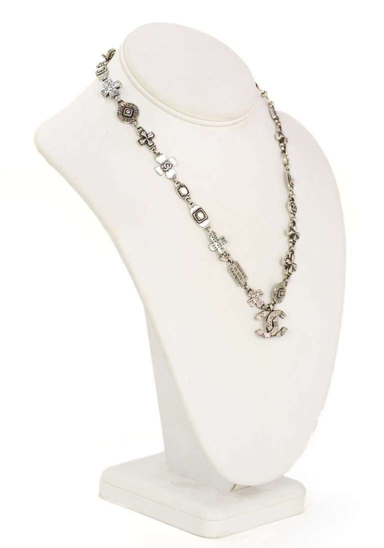 Chanel 1999 Silvertone Logo Cross and CC Charm Chain Necklace 3