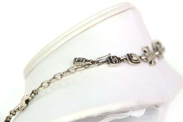 Chanel 1999 Silvertone Logo Cross and CC Charm Chain Necklace 4