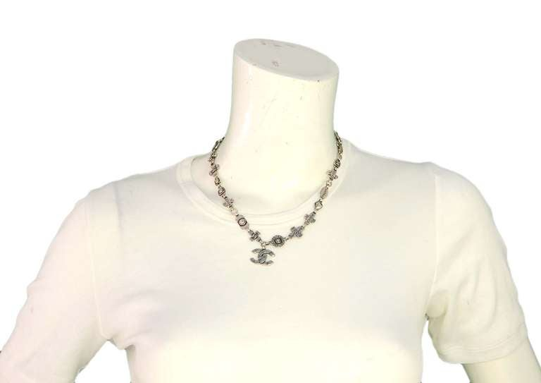 Chanel 1999 Silvertone Logo Cross and CC Charm Chain Necklace 6
