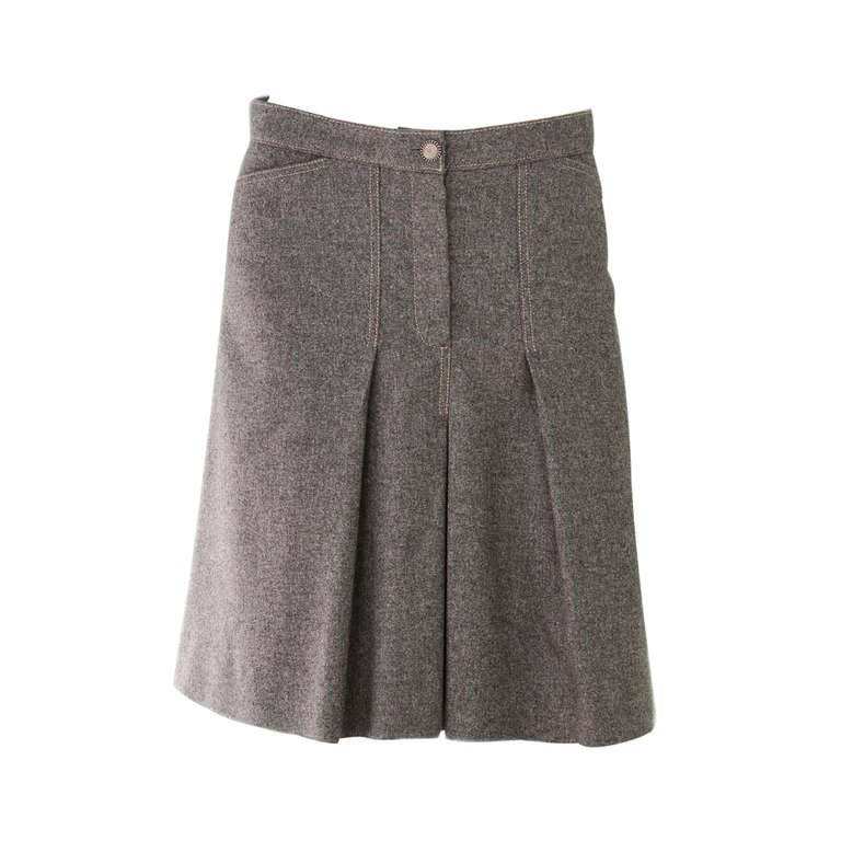chanel grey wool pleated a line skirt sz 40 at 1stdibs
