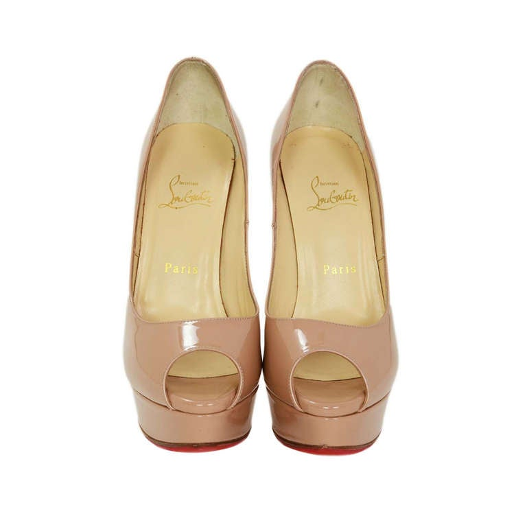 CHRCHRISTIAN LOUBOUTIN Nude Patent Leather Lady Peep Toe Pump Shoes Sz 8.5 1