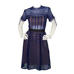 SELF-PORTRAIT Blue Eyelet Short Sleeve Fit & Flare Dress sz 6