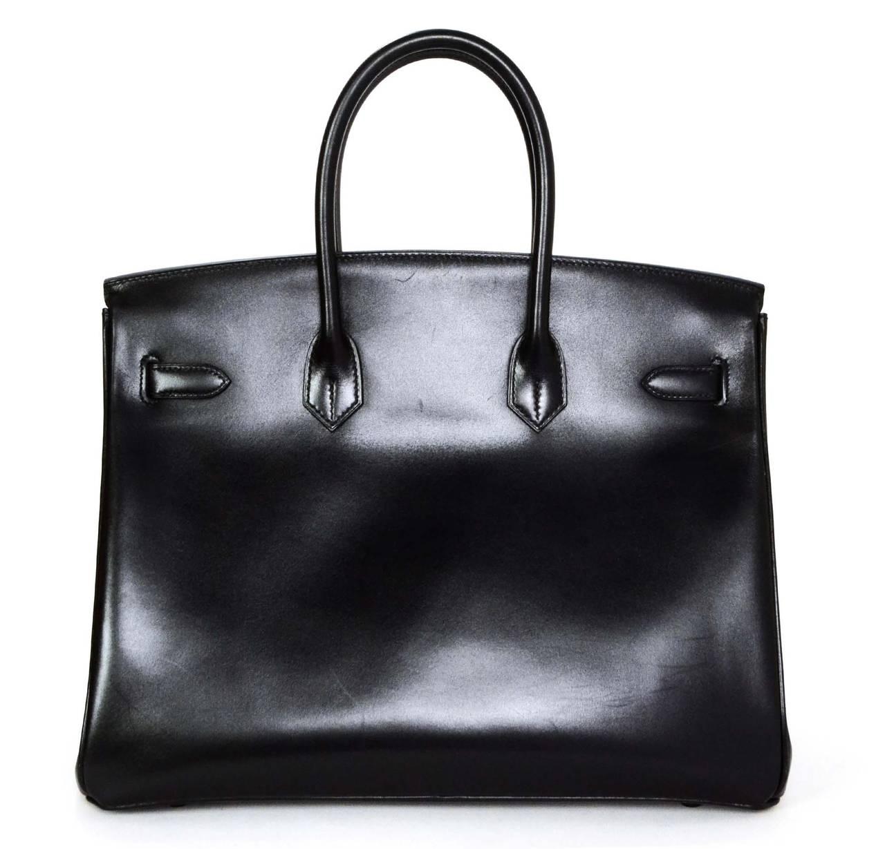 HERMES Rare Black Box Leather Black Hardware SO BLACK 35 cm Birkin ...