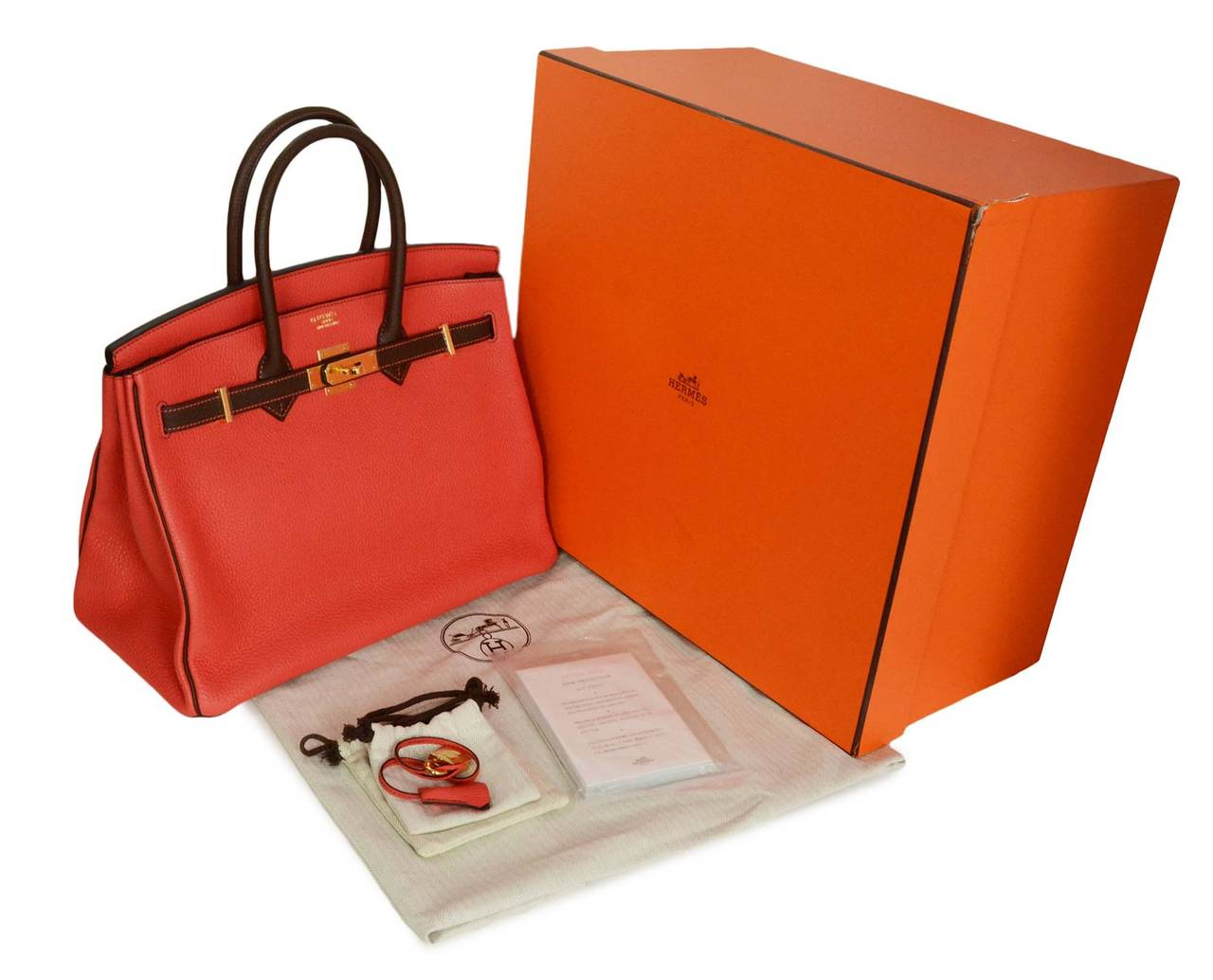 HERMES '15 SO Rouge Pivione/Cacao Red & Brown Togo Leather 35 cm Birkin Bag GHW 9