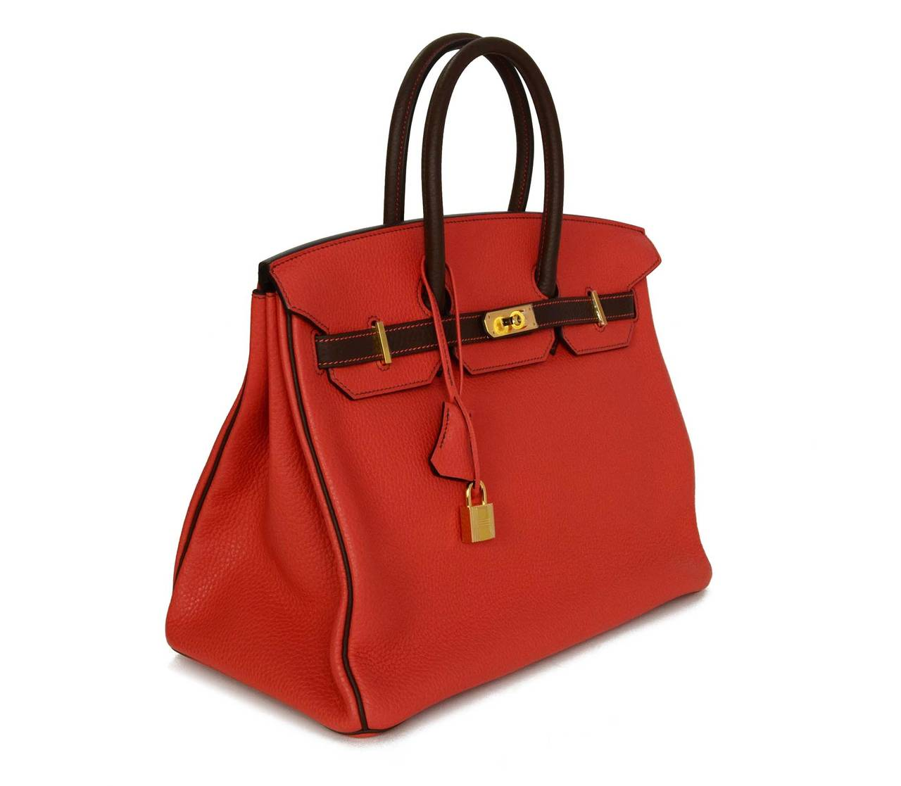 HERMES '15 SO Rouge Pivione/Cacao Red & Brown Togo Leather 35 cm Birkin Bag GHW 2