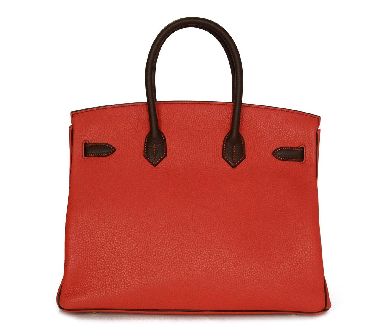HERMES '15 SO Rouge Pivione/Cacao Red & Brown Togo Leather 35 cm Birkin Bag GHW 3