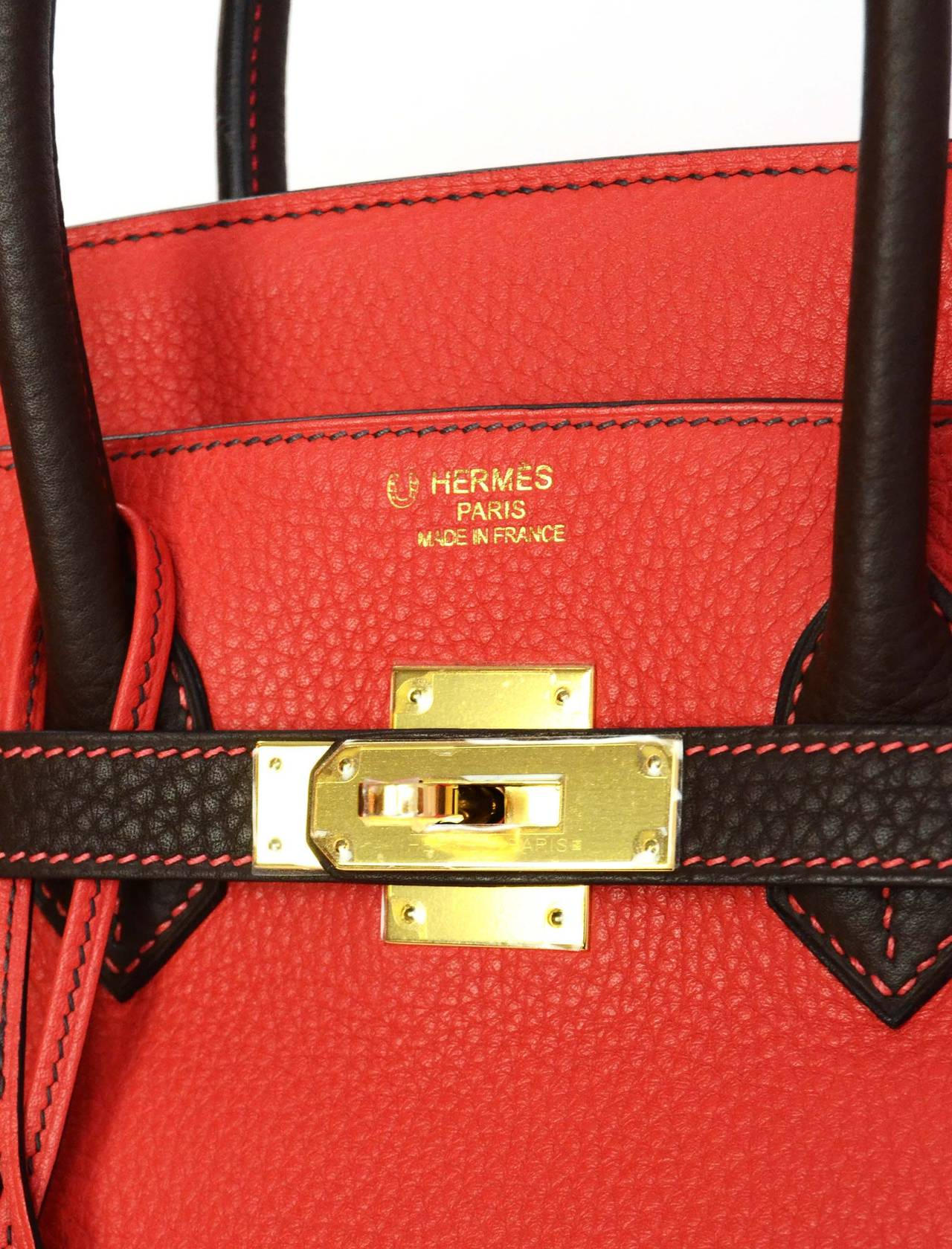 HERMES '15 SO Rouge Pivione/Cacao Red & Brown Togo Leather 35 cm Birkin Bag GHW 6