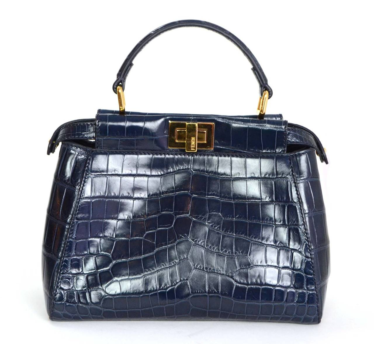 f745d6e0c239 ... canada fendi navy glazed crocodile mini peekaboo bag ghw in excellent  condition for sale in new