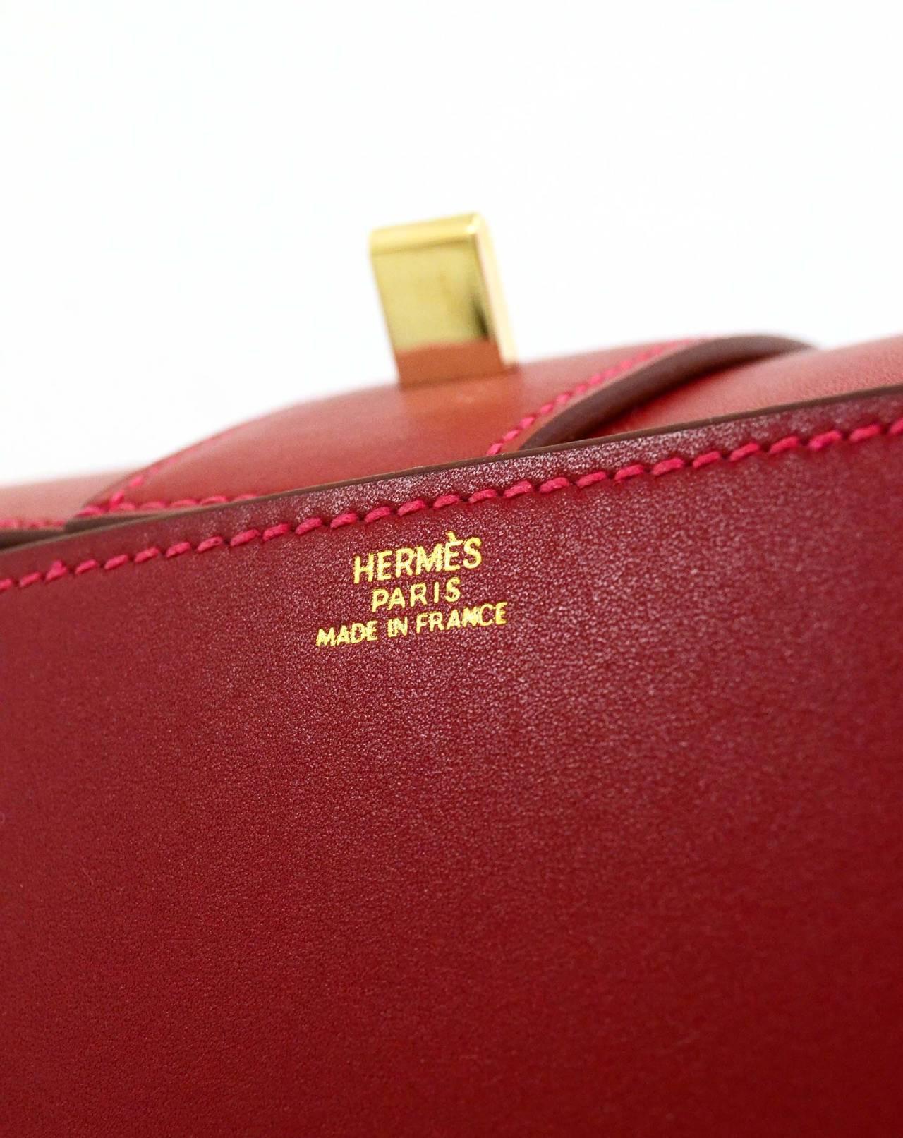 HERMES Rouge Vif Tadelakt Leather 23cm Medor Clutch Bag PHW For ...