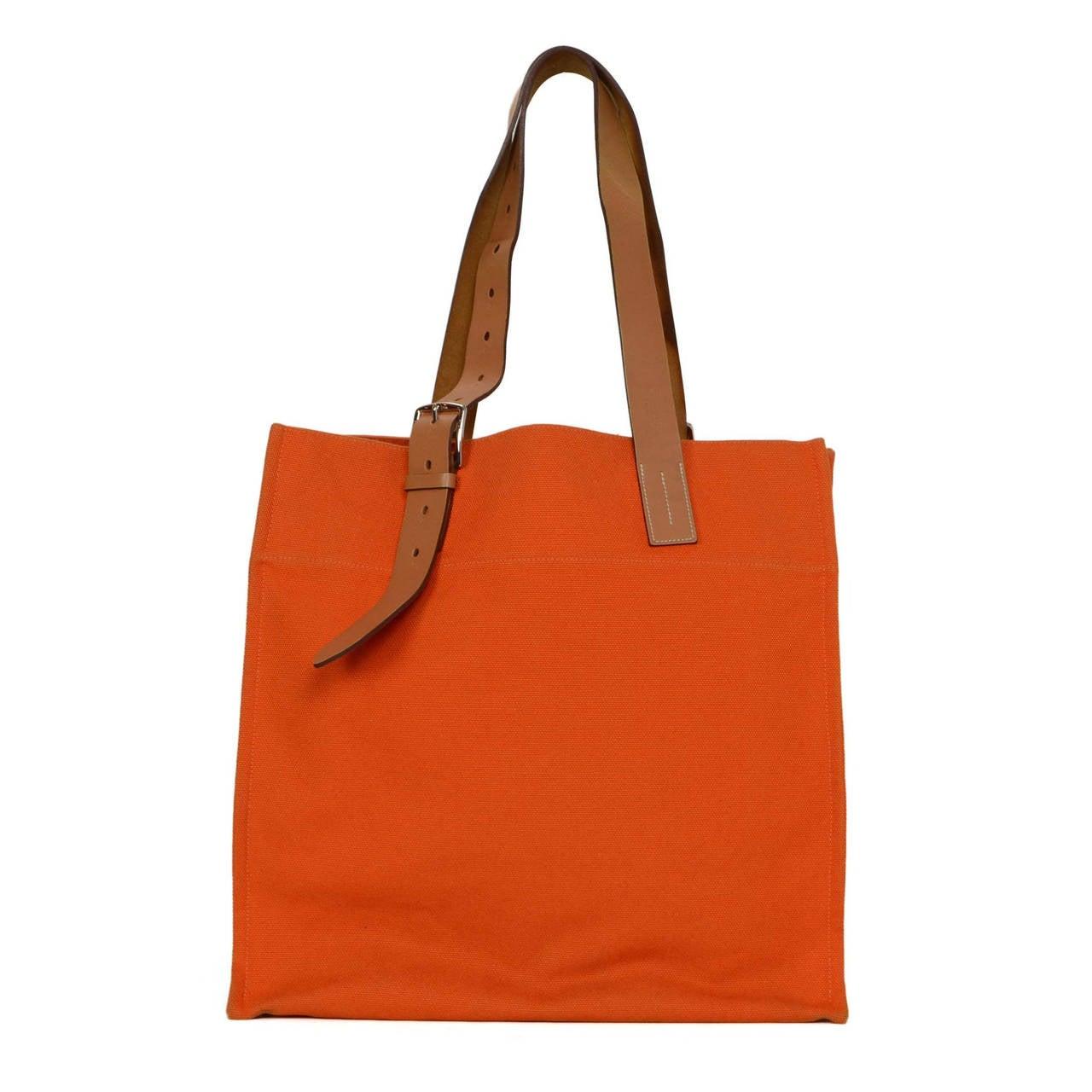 HERMES Orange Canvas Etriviere Tote Bag PHW at 1stdibs