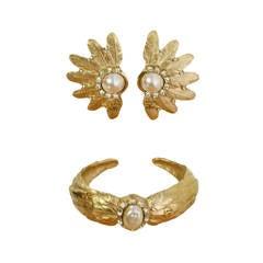 Chanel Pale Gold Pearl Cuff Bracelet & Clip On Earrings Set