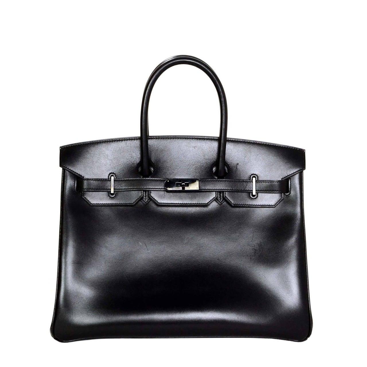 hermes pocketbook - HERMES Rare Black Box Leather Black Hardware SO BLACK 35 cm Birkin ...