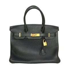HERMES Dark Green/ Blue Jean Clemence SO Horseshoe Togo 30 cm Birkin Bag GHW