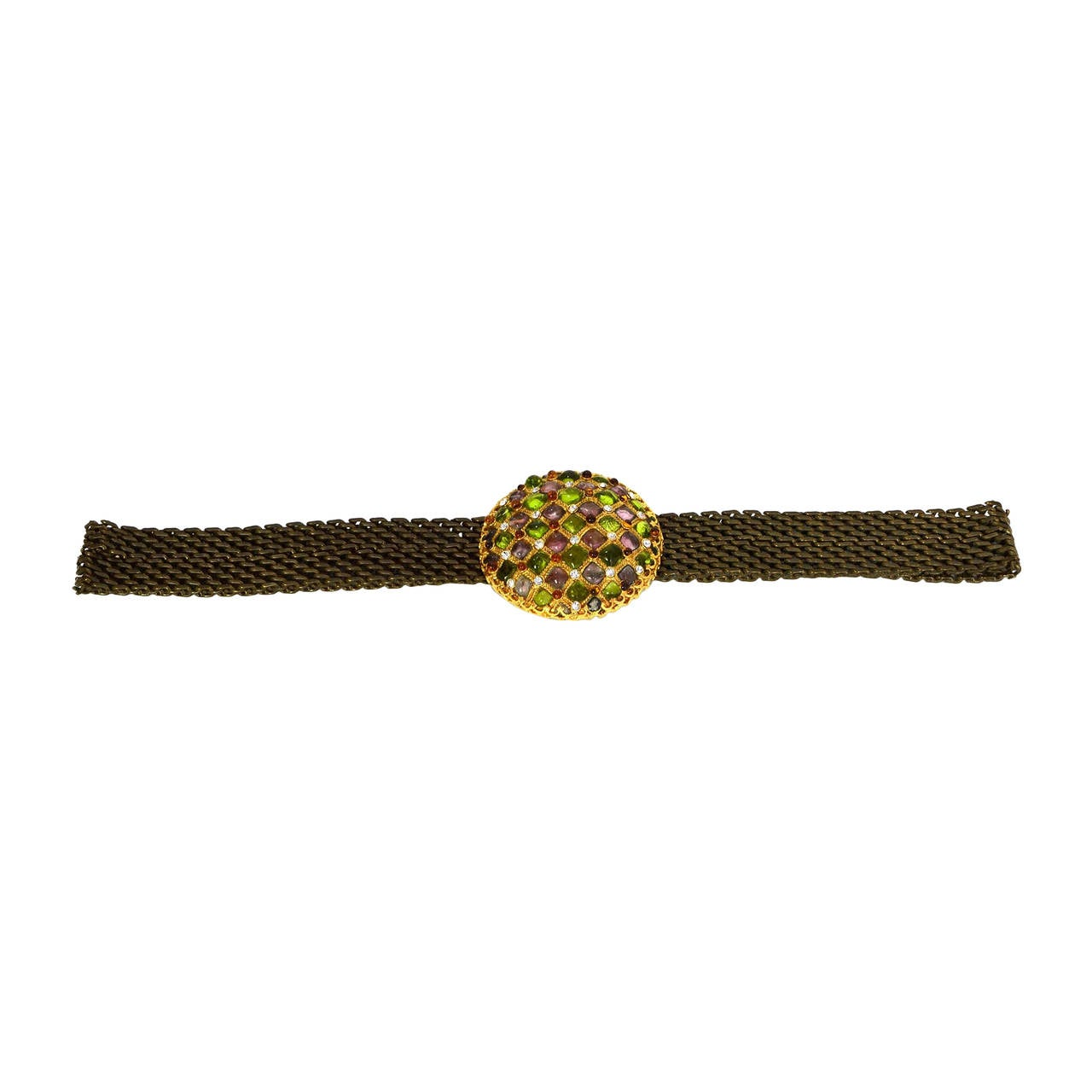 CHANEL Vintage '97 Gripoix & Rhinestone Chain Link Belt For Sale
