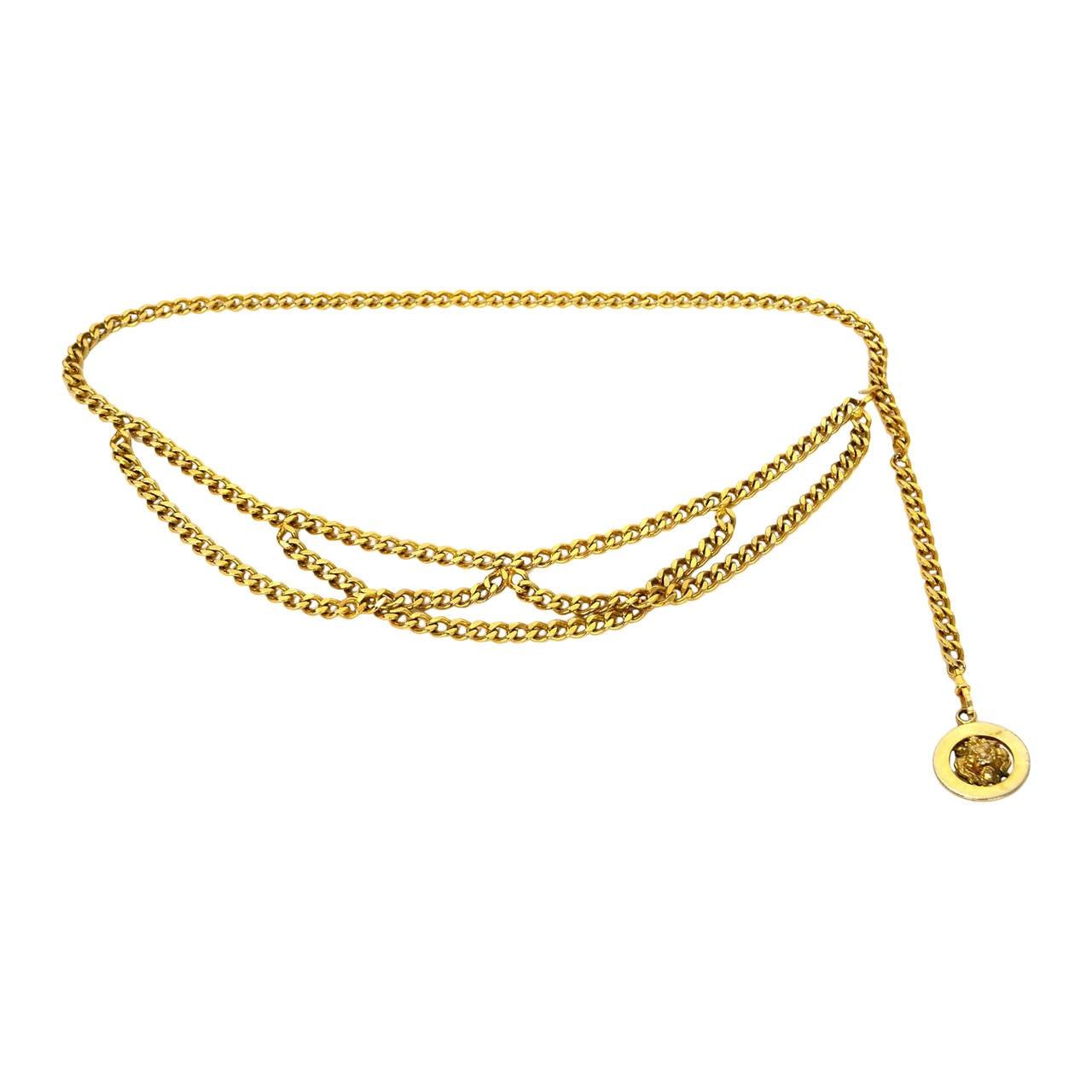 CHANEL Vintage '50s-'60s Gold Three Tier Chain Link Belt