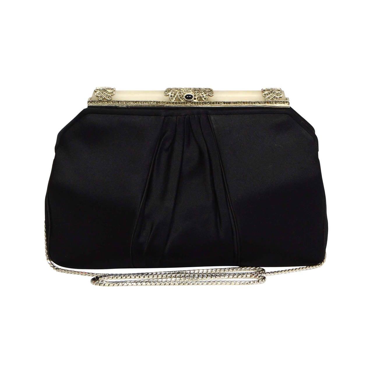 JUDITH LEIBER Black Satin Art Deco Evening Bag SHW 1