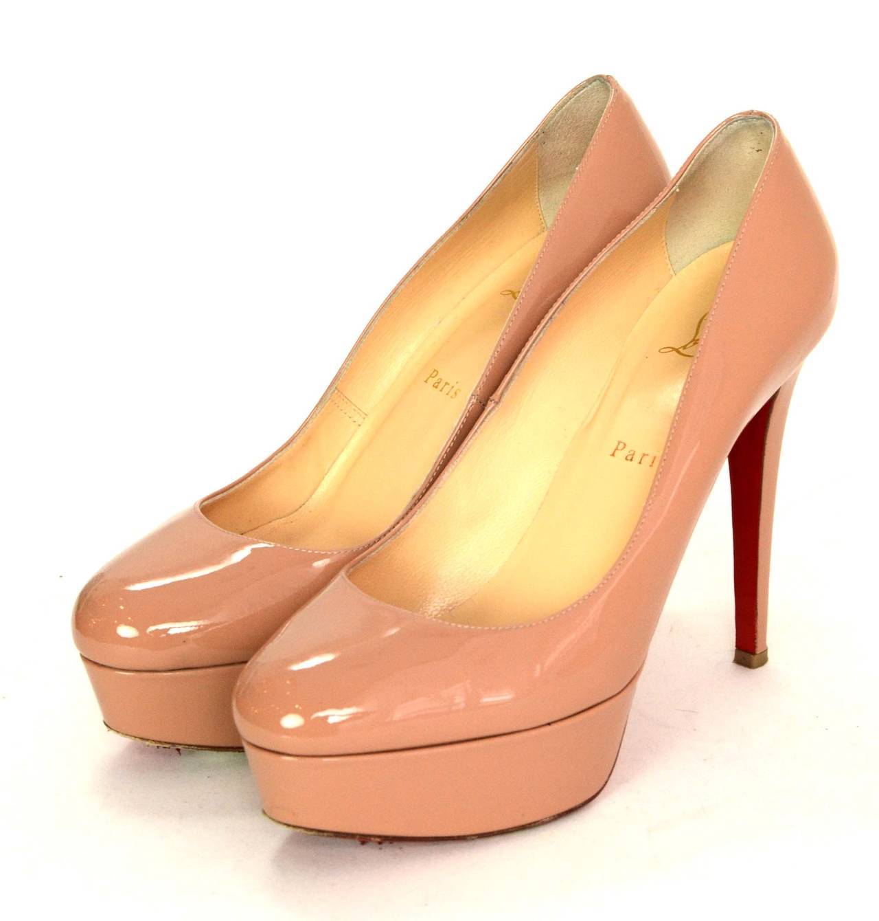 f08cab200b67 Christian Louboutin Nude Patent Bianca Platform Pumps Made in  Italy Color   Nude Composition