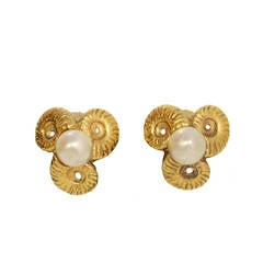 CHANEL Vintage '50s Gold Horn & Pearl Clip On Earrings