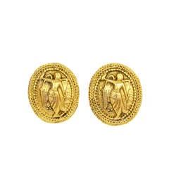 CHANEL Vintage '90s Gold Angel Medallion Clip On Earrings