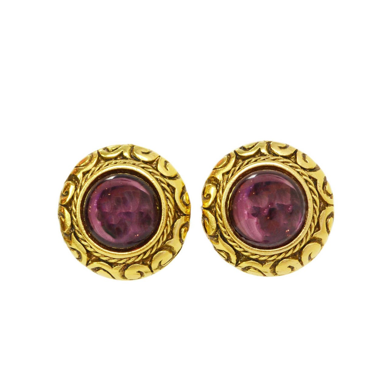 CHANEL Vintage '90s Gold & Purple Gripoix Clip On Earrings