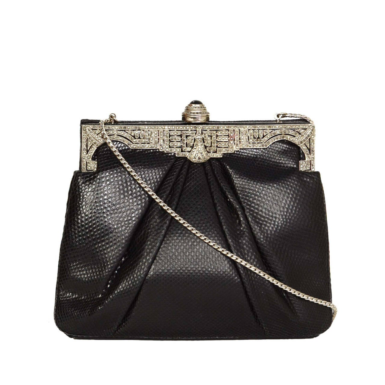 JUDITH LEIBER Black Lizard Skin & Rhinestone Evening Bag SHW For Sale