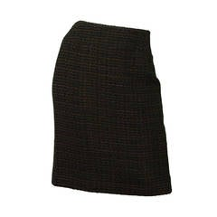 CHANEL Vintage '98 Dark Green Tweed Pencil Skirt sz 40